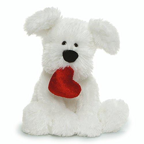 GUND Valentine's Day Romeo Dog Holding Heart Plush Stuffed Animal, White, 5