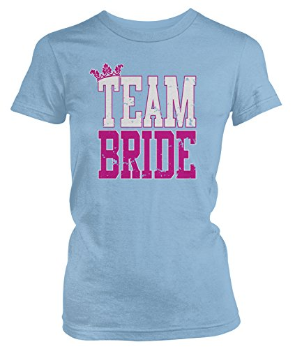Amdesco Junior's Team Bride, Bridal Bachelorette Party T-Shirt, Light Blue Large