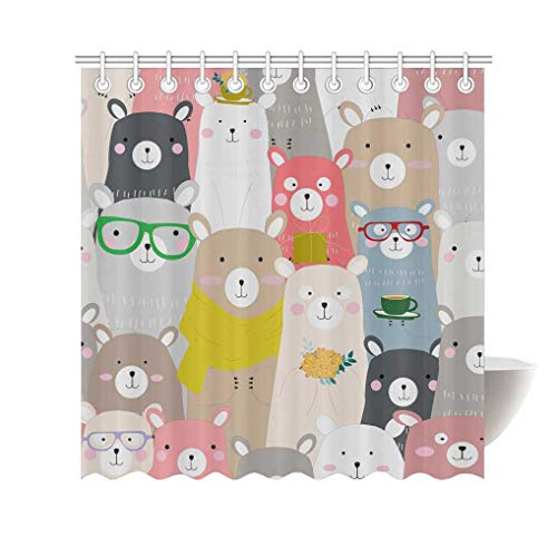 Instany Modern Decor Shower Curtain Seamless Cute Baby Teddy Bear Personalized Creative Waterproof Bath Curtain with 12 Hooks 72x72