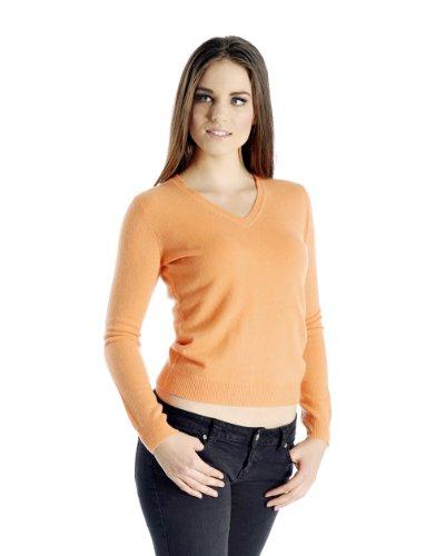 Cashmere Boutique: Women's 100% Pure Cashmere V-Neck Sweater (Color: Camel Brown, Size: Small)