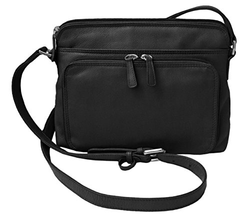 Genuine Soft Leather Cross Body Bag with Front Organizer Wallet,Black