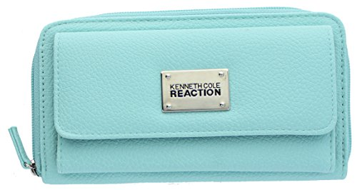 Kenneth Cole Reaction Womens Napa Zip-Around Urban Organizer Wallet (PEBBLE ROBIN - Cole Kenneth Zip
