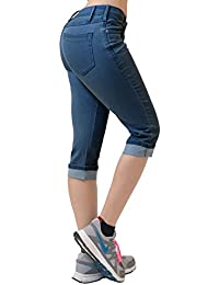 HyBrid & Company Women's Perfectly Shaping Stretchy Denim Capri