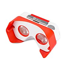 DSCVR Headset inspired by Google Cardboard v2 IO 2015 VR Gear for Apple iPhone and Android Smartphones - Google WWGC Certified Virtual Reality Viewer - Red