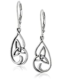 Sterling Silver Oxidized Celtic Knot Lever Back Earrings