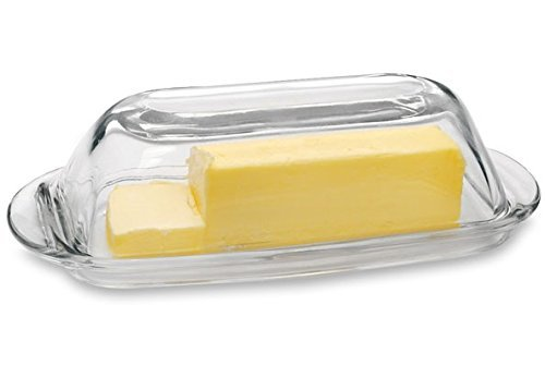 "Circleware Tavola Glass Butter Dish with Glass Lid, 7.5x3.25"", Clear"