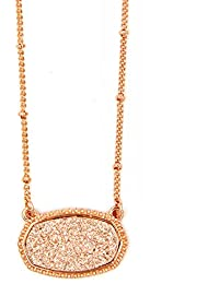 Framed Etched Oval Multi Druzy Glitter Statement Short Necklace