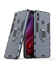 Compatible with Xiaomi Mi Max 3 Case, Metal Ring Grip Kickstand Shockproof Hard Bumper Shell (Works with Magnetic Car Mount) Dual Layer Rugged Cover for Xiaomi Mi Max3 (Navy Blue)