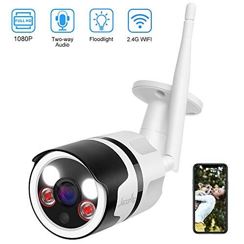 [2020 Upgrade] Outdoor Security Camera Wireless, Jecurity 1080P Wifi Surveillance Camera with Full Color Night Vision, Floodlight, Two-Way Audio, Siren Alarm, Motion Detection, Waterproof, MicroSD Support