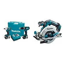 Makita LXT211 18-Volt LXT Lithium-Ion Cordless 2-Piece Combo Kit & Makita DHS680Z 18V LXT Brushless 6-1/2-Inch Circular Saw