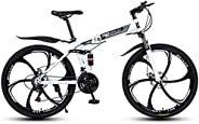 Mountain Bike Folding Bicycle Collapsible Mountain Bicycles Carbon Steel Frame Ravine Bike with Dual Suspensio