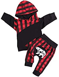 Baby Boys Clothes Long Sleeve Red Plaid Hoodie Sweatshirt Pocket Tops Baby Bear Long Pants Winter Outfit Set