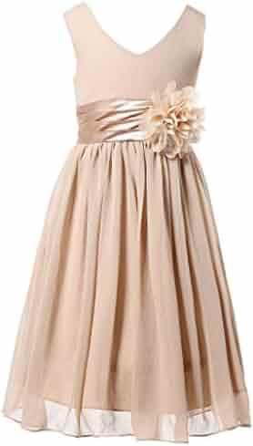 b62bab6a9 Bow Dream Junior Bridesmaids V-Neckline Chiffon Flower Girl Dress