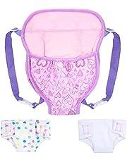 ZOEON Babydocka bärarryggsäck och blöjor, docka tillbehör set för 18 tums dockor (40–45 cm) (3)