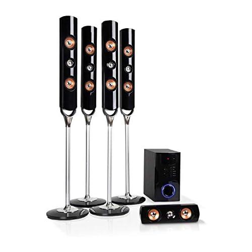 chollos oferta descuentos barato auna Areal Nobility Equipo 5 1 de Sonido Envolvente Home Cinema Equipo 5 1 120 W de Potencia Media Subwoofer de 35 W Altavoces Bluetooth 3 0 USB SD AUX Pantalla LED Negro