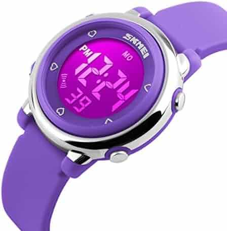 USWAT Children Digital Watch Outdoor Sports Watches Boy Kids Girls LED Alarm Stopwatch Wrist watch Children's Dress Wristwatches Purple