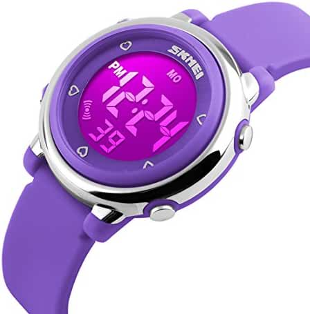 USWAT Children Digital Watch Outdoor Sports Watches Boy Kids Girls LED Alarm Stopwatch Wrist watch Children's Dress Wristwatches Purple