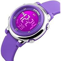 uswat Reloj digital Niños Deportes al aire última intervensión relojes Boy Kids Girls LED Alarma Cronómetro muñeca reloj de los niños vestido de pulsera púrpura