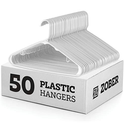 BAGAIL Black Plastic Hangers,Premium Non-Slip Notched Clothes Hangers,Heavy Duty Sleek Skirt Hangers for Everyday Standard Use 24 Pack Black