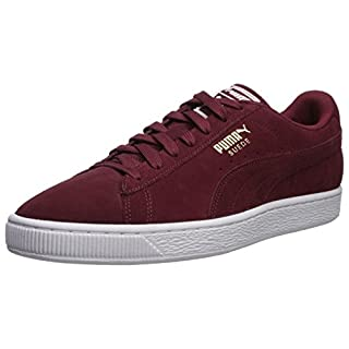 PUMA Men's Suede Classic + Sneaker, Cabernet-White-Team Gold, 4 M US