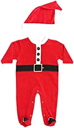 Christmas Coverall for Baby   Infant with Matching Santa Hat