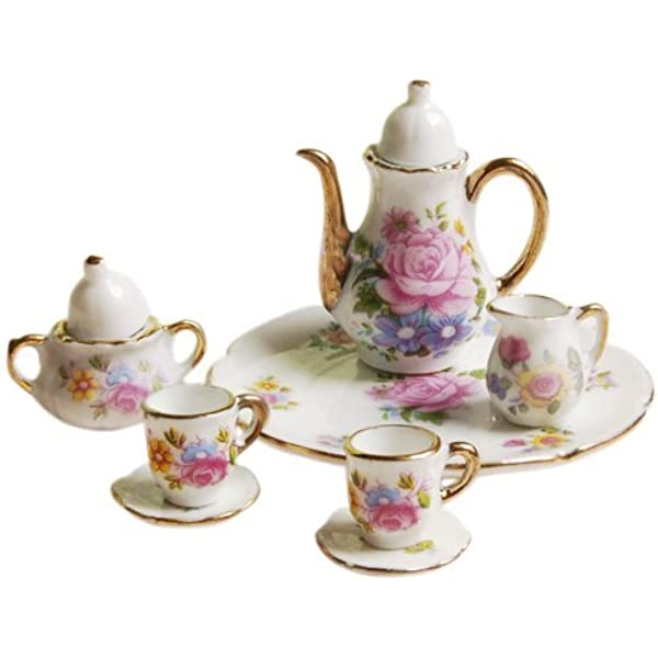 Amazon Com Miniature Tea Set 1 12 Scale Porcelain Cup Tiny Teapot Platter Dishes Dollhouse Kitchen Accessories For Toy House Decoration Pink Rose 8pcs Toys Games