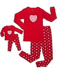 Leveret Kids & Toddler Pajamas Matching Doll & Girls Pajamas 100% Cotton Pjs Set (Toddler-14 Years) Fits American Girl Red