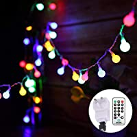 Globe String Lights Mains Powered 13M/43ft 100 LED Outdoor Fairy Lights Multi-Color 8 Modes Waterproof with Remote...