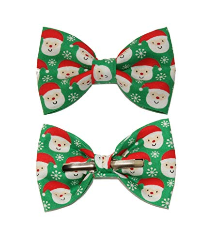 Boys Santa/Snowflakes Clip On Cotton Bow Tie Christmas Holiday Bowtie