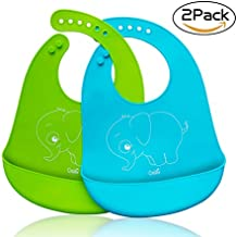 Cos2be Waterproof Soft Silicone Bibs Easily Wipes Clean, Adjustable Snaps Baby Bibs for Babies or Toddlers