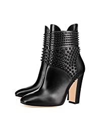 XYD Women Faux Leather High-Top Fashion Ankle Boots Rivets Chunky Heels