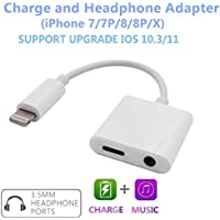iPhone 7 Adapter, iPhone 8 Adapter, Lighitning to 3.5mm Headphone Jack Adapter with Charging Port, Charge and 3.5mm Headphone Adapter for iPhone 7 / iPhone 8 / iPhone X (White)