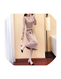 Take-Me Women Skirt Elegant Long Sleeve OL O Neck Sweater Casual Thick Knit Autumn Winter Slim A line