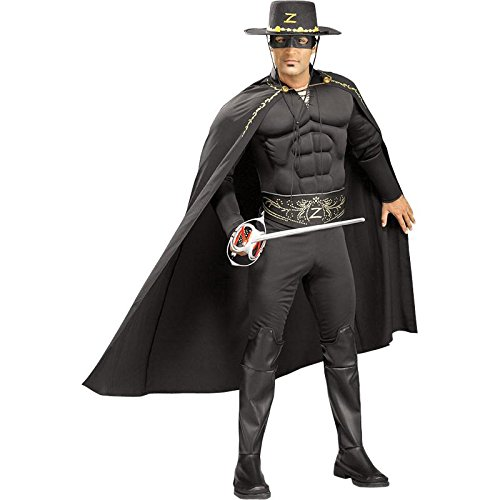 Rubie's Costume Co Men's Deluxe Muscle Chest Zorro Costume, Black, One Size (Zorro Costumes For Adults)