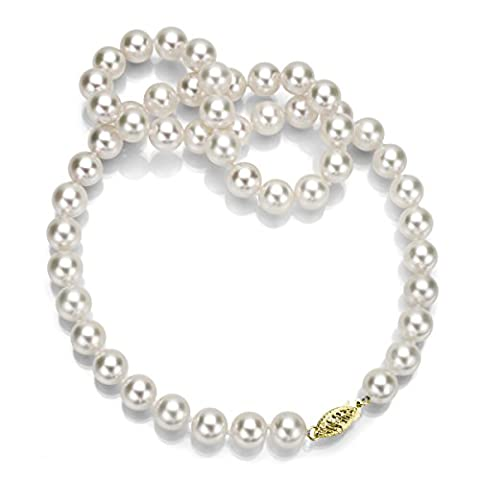 14k Yellow Gold 7-7.5mm AAA Handpicked White Japanese Akoya Cultured Pearl Necklace, 20
