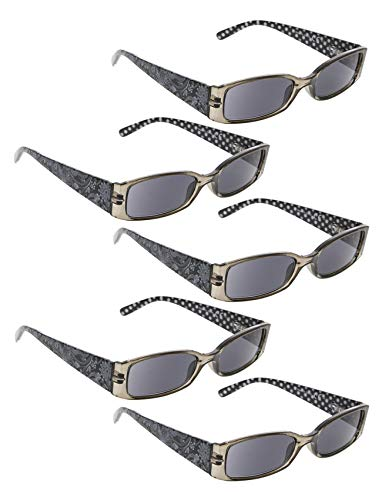 READING GLASSES 5 Pack Polka Dots Patterned Temples Sunshine Readers (Grey Lens, 2.75)