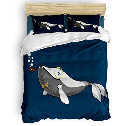 vnurhfmvn Duvet Cover Set Printed 4 Pcs Bedding Set King Size Include Duvet Cover, Bed Sheet, Pillow Shams Gentleman Whale with Glasses and Smoking Cigarette Soft Quilt Sets for Children/Adults
