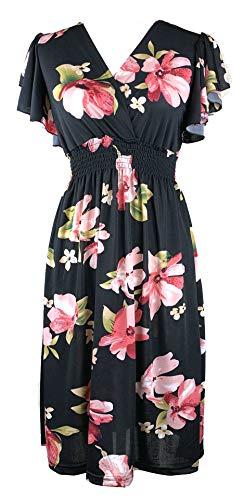 Vibrant V-Neck Knee Length Dress - Assorted Styles Plus & Regular Sizes Hibiscus Black 3X]()