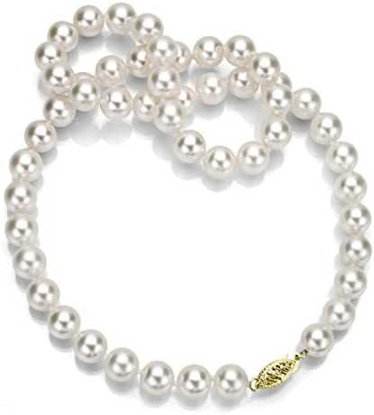 14k Yellow Gold 8-8.5mm AAA Handpicked White Japanese Akoya Cultured Pearl Choker Necklace, 16