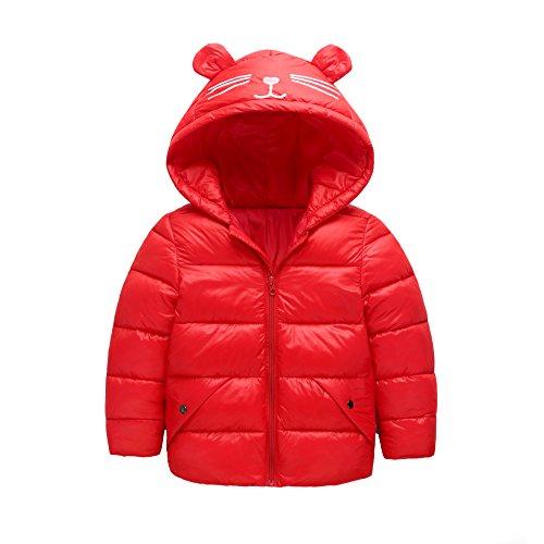 Girls Winter Ultra Light Down Jacket Kids Ear Warm Coat Hoodie Outwear Size 2-3T (red) ()