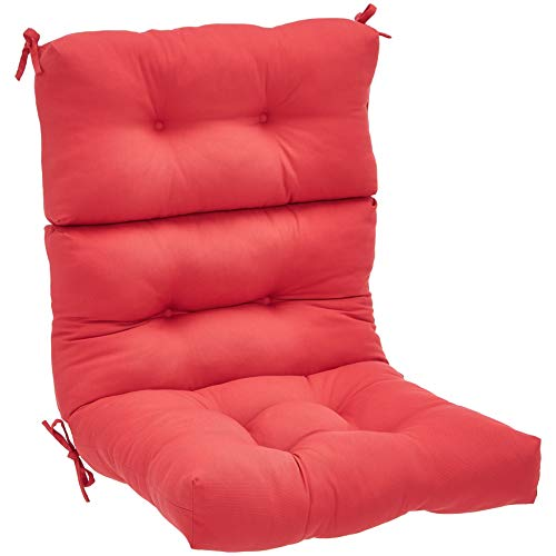 AmazonBasics Tufted Outdoor High Back Patio Chair Cushion- Red
