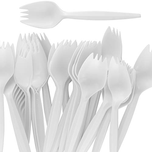 BPA-Free White Disposable Sporks 100 Pk. Recyclable, Eco-Friendly and Kid-Safe 2-in-1 Utensils Built Strong to Last Large Meals. Great for School Lunch, Picnics or Restaurant and Party Supply