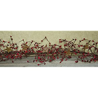 Pip Berry Garland with Rusty Stars - Burgundy & Red
