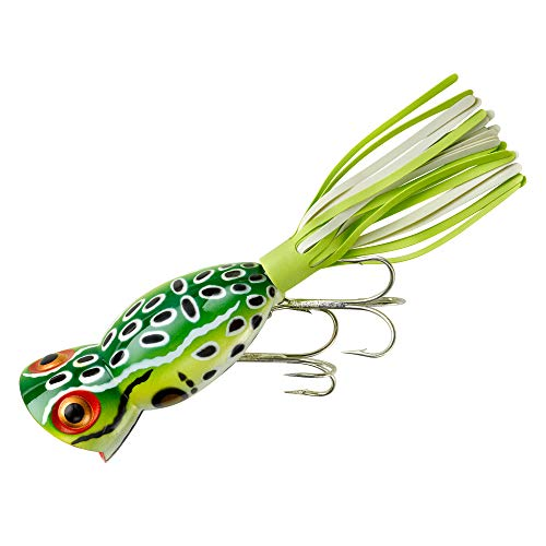 Arbogast Hula Popper Fishing Lure-2 1/4 in-Leopard Frog - Chartreuse/White ()