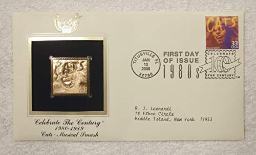 Cats - Broadway Musical Smash - Celebrate the Century (The 1980s) - FDC & 22kt Gold Replica Stamp plus Info Card - Postal Commemorative Society, 2000 - Longest Running Show in the History of Broadway, Andrew Lloyd Webber, 'Memory'