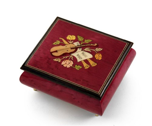 Inspiring Red Wine Music Theme with Violin Wood Inlay Music Box - Hark! The Herald Angels (Violin Inlay Music Box)