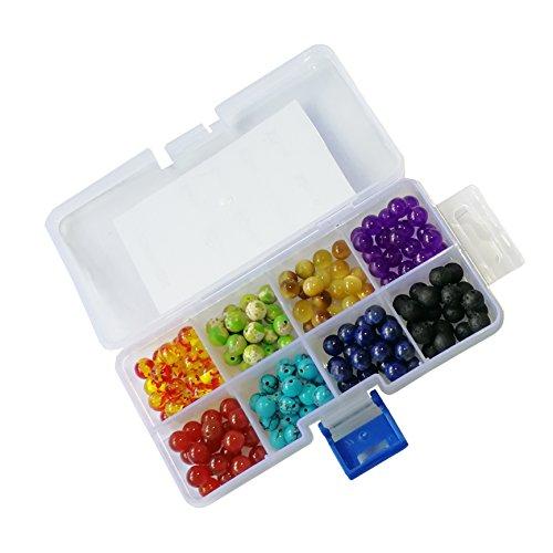 8MM Chakra Beads and Black Lava Rock Volcanic Yoga Reiki Prayer Stone Jewelry Bracelet Necklace DIY Making 160PCS/BOX