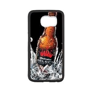 Cubierta de la caja Funda Samsung Galaxy S6 Teléfono Funda Caso de la cubierta Negro Budweiser Beer Botella Bebida spray R8J1KQ Genérico Teléfono para las mujeres