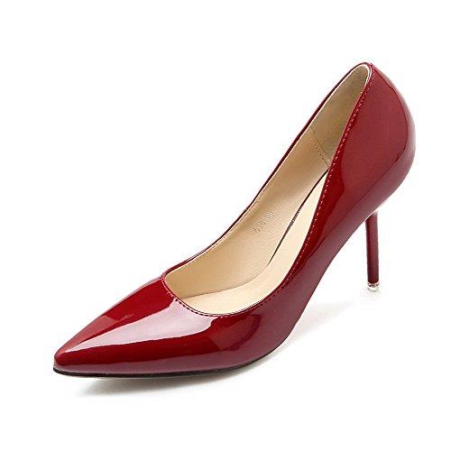 Aalardom Womens Spikar-stiletter Pekade-tå Pådrag Mjuka Material Pumpar-shoes Rödvin-mikrofiber