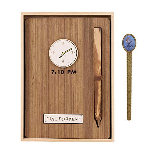 Exquisite Travel Journaling Notebook with Wooden Box and Rollerball Pen Portable Lined Daily Planner Diary Gift,128 Sheets,32K